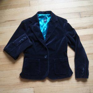 Gap Emerald Blue Velvet Blazer Jacket 4
